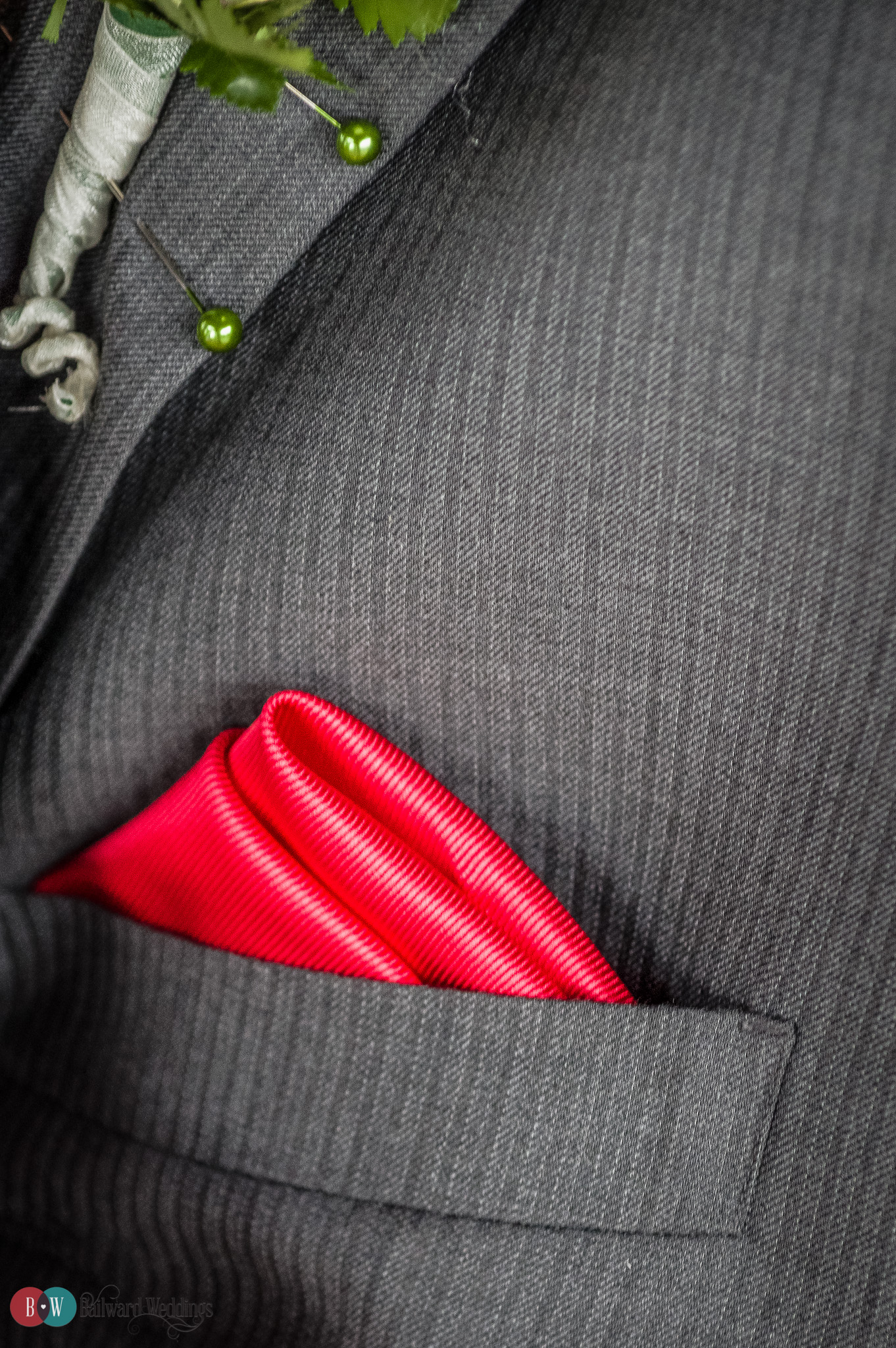 Groom with red pocket square