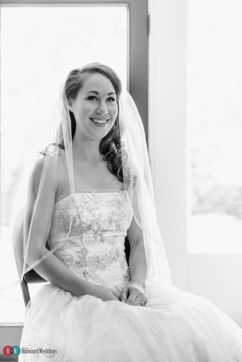 Bride sitting in dress and veil